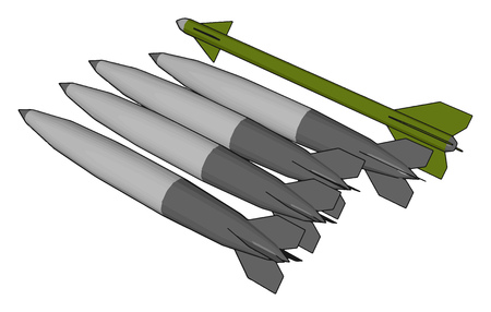 3D vector illustration on white background  of various army missiles