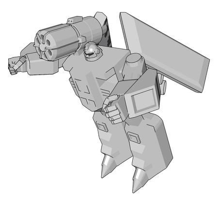 Grey fantasy robot vector illustration on white background