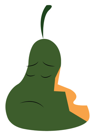 A half eaten sad looking pear vector color drawing or illustration