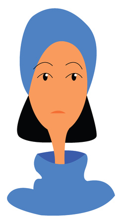 A woman with black hair and long neck wearing a blue headscarf vector color drawing or illustration