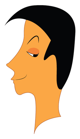 A boy with black hair smirking and looking in his left direction vector color drawing or illustration Иллюстрация
