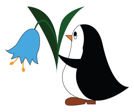 Pinguino in bianco e nero che tiene un'illustrazione di vettore del fiore blu su fondo bianco