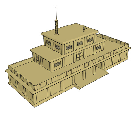 3D vector illustration on white background  of a military barracks 向量圖像