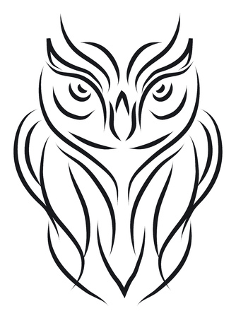 A line sketch of an angry looking owl vector color drawing or illustration Çizim