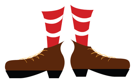 A pair of legs wearing a red and white striped socks and brown boots with yellow laces vector color drawing or illustration Иллюстрация