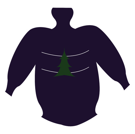 A black sweater with a christmas tree drawn on the front area vector color drawing or illustration Illustration
