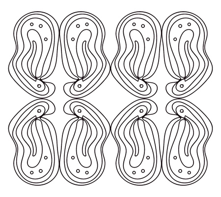 A drawing of four pair of curved lines arranged as mirror images vector color drawing or illustration