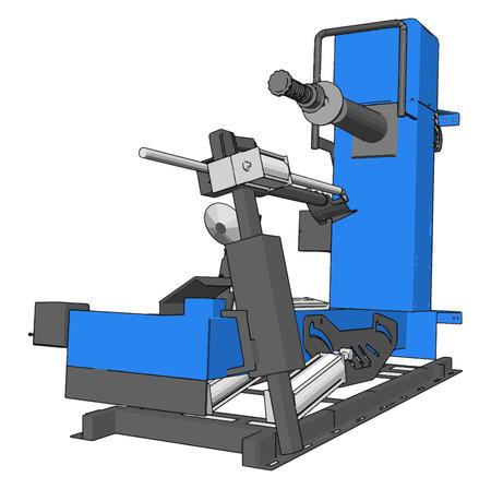 Vector illustration of  a blue bore lathe white background 일러스트