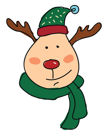 A deer wearing a green scarf and a green stocking cap vector color drawing or illustration
