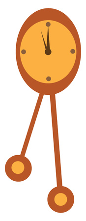 A clock with two pendulums showing that it is elevenoclock vector color drawing or illustration