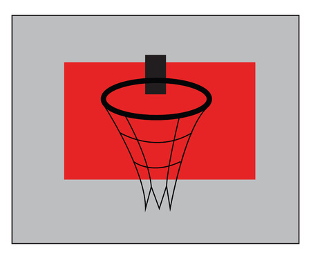 A black basketball ring fitted on a red basketball backboard vector color drawing or illustration