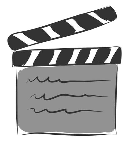 Cartoon movie board vector illustration on white background