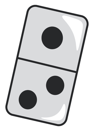 A rectangular domino tile with black spots vector color drawing or illustration Illustration