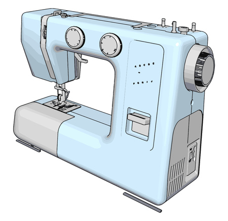 Simple vector illustration of a light blue sewing machine white background