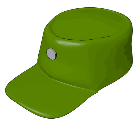 3D vector illustration on white background  of a green military cap