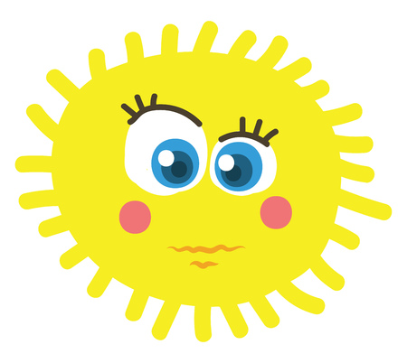 A bright yellow sun looking grim vector color drawing or illustration Ilustracja
