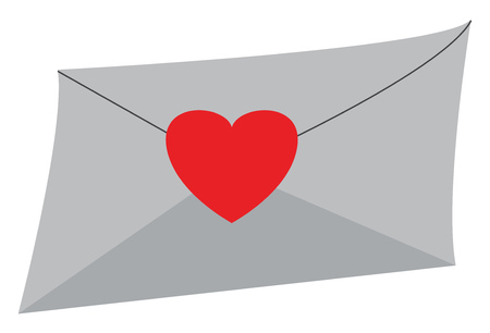 An envelope with a heart sticker on it vector color drawing or illustration