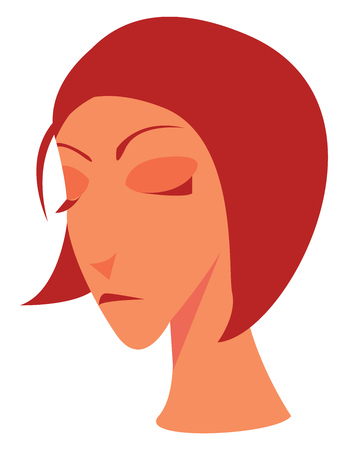 A gloomy looking woman with red hair vector color drawing or illustration Çizim