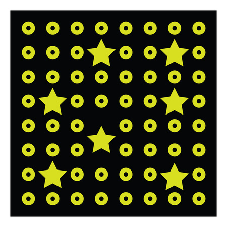 A yellow circles and stars drawn on a black square vector color drawing or illustration
