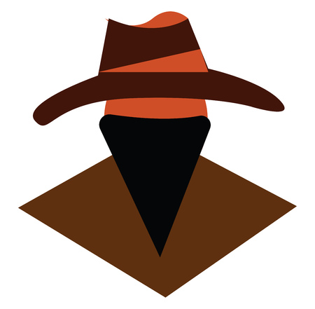 A man wearing a cowboy hat and whose face is covered with a neckerchief vector color drawing or illustration