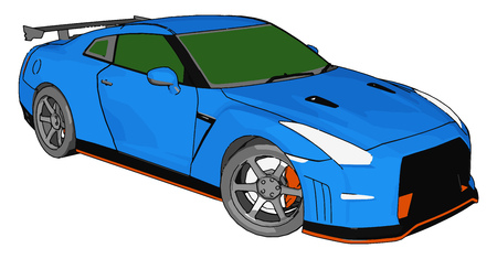 Blue race car with green windows and orange detailes and grey rear spoiler vector illustration on white background  イラスト・ベクター素材