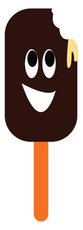 Lächelndes braunes Eis am Stiel mit Bissspuren-Vektorillustration auf weißem Hintergrund