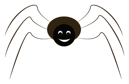 A cartoon of a black spider with six legs looking happy vector color drawing or illustration