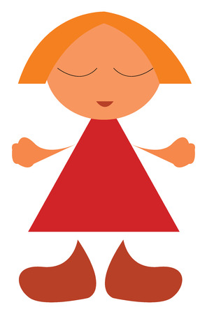 A doll with short hair wearing a red frock and brown boots vector color drawing or illustration