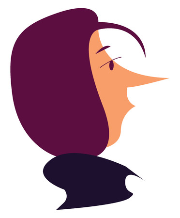A side face of a girl with purple hair and a pointed nose vector color drawing or illustration Çizim