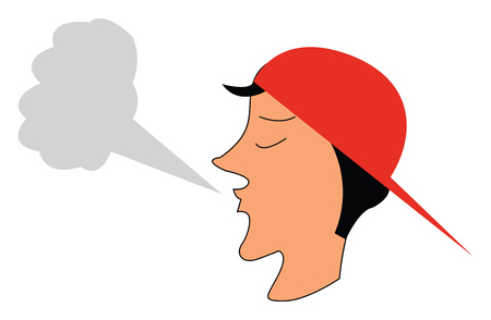 A boy wearing a red cap who is blowing a big cloud of smoke vector color drawing or illustration 일러스트