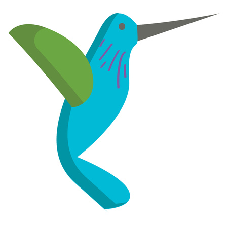 Vector illustration of a blue and green hummingbird on white background