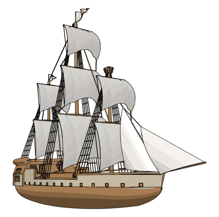 Simple vector illustration of an old sailing ship white backgorund