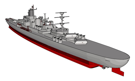 Illustration vectorielle 3D d'un long navire de guerre militaire rouge et gris sur fond blanc