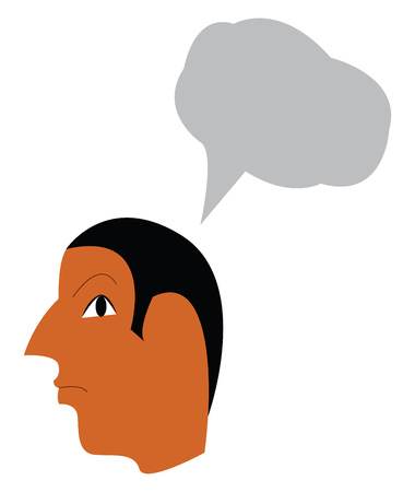 A man is thinking about something important in his head vector color drawing or illustration