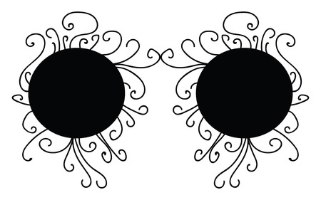A mask with two eye patches and design around it vector color drawing or illustration