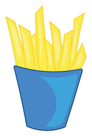 Yellow potato fries in a blue frustum shaped box vector color drawing or illustration Foto de archivo - 123462887