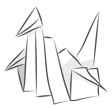 Simple black and white sketch of a origami paper swan  vector illustration on white background