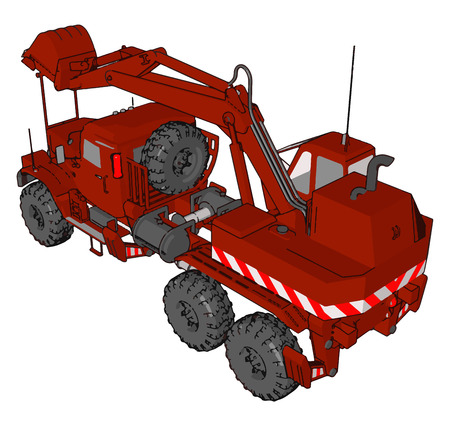 3D vector illustration on white background of big red excavator