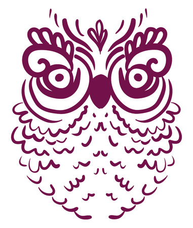 A large sized owl with big eyes and even bigger eyelashes vector color drawing or illustration