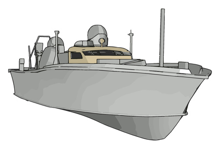 3D illustration of a white army ship vector illustration on white background Çizim