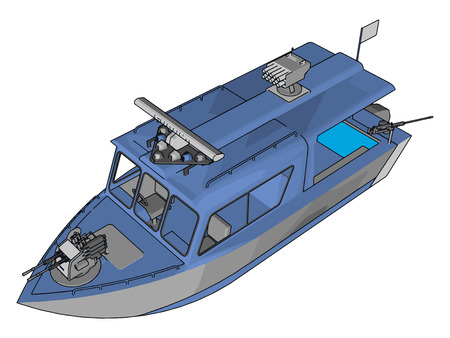 3D vector illustration on white background of a grey and blue military boat Foto de archivo - 123462899