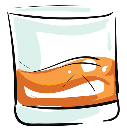 Whiskey shot in glass illustration color vector on white background 向量圖像