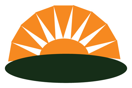 An image of a sun setting vector color drawing or illustration