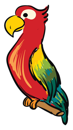 Colorful parrot cartoon vector illustration on white background 矢量图像
