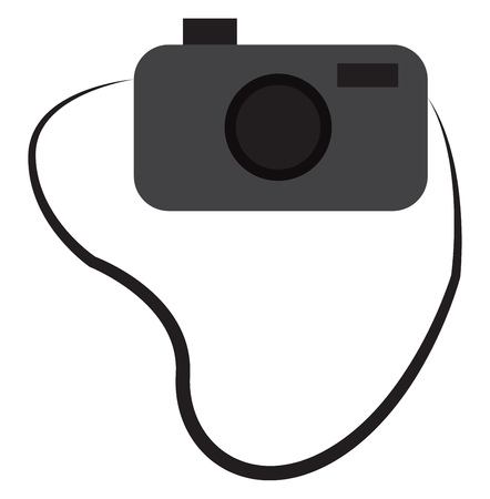 A grey camera attached to a sling vector color drawing or illustration Reklamní fotografie - 121019053
