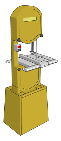 3D vector illustration on white background of an yellow  metal cutting saw