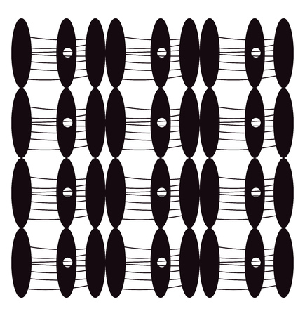 An image of black ovals having threads coming out of it vector color drawing or illustration