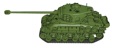 3D vector illustration on white background of a green military tank Иллюстрация