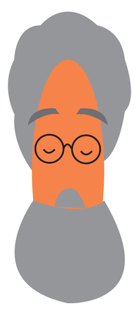 An old man with gray hair and gray beard wearing black spectacles vector color drawing or illustration