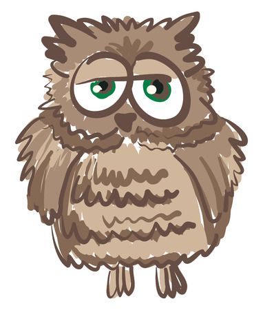 A shabby looking owl with green eyes vector color drawing or illustration